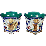 19th Century French Napoleon III Footed Majolica Pots - Pair