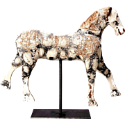 English Child's Pinto Pony Rocking Horse on Stand