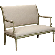 French Empire Style Painted Settee With Neutral Upholstery C.1900