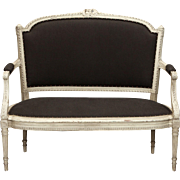 19th Century French Cream Painted Settee with Dark Gray Upholstery