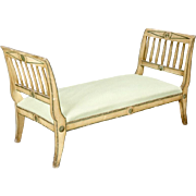 French Painted and Carved Upholstered Bench or Daybed