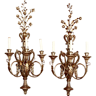 Pair Italian Three Light Giltwood and Metal Sconces, C.1900's