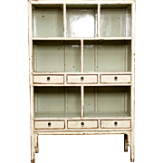 Antique Chinese Lacquered Open Shelf Cabinet