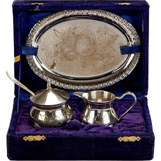 3-Piece Silver Plate Coffee Tea Service Gift Set Of Sugar Bowl & Creamer