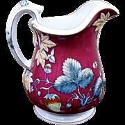 1880 Davenport Pottery Strawberry Beverage Pitcher Jug