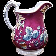 19th Century Davenport Pottery Strawberry Beverage Pitcher Jug