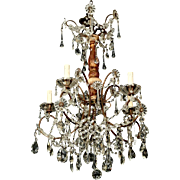 1920's Italian Six-Light Crystal and Gilt Wood Chandelier