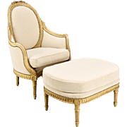 19th Century Louis XVI French Bergere & Ottoman