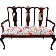 English 1920's Mahogany High Back Chippendale Style Settee Love Seat with New Upholstery