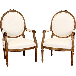 Pair Louis XVI Oval Back Gilded Frame Fauteuils