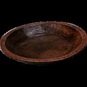 Antique European Rustic Carved Teak Hand Carved Wooden Bowl