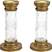 19th Century Pair French Bronze and Cut Crystal Candlesticks or Vases