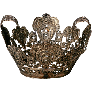 19th Century European Silver Metal Religious Crown