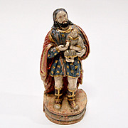 19th Century Spanish Hand Carved and Painted Wood Religious Cristo Sculpture