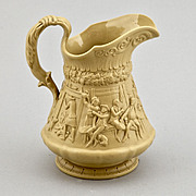 19th Century W Ridgway & Co Drabware Pitcher Pattern with Horseback Riders
