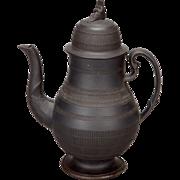 19th Century Tall English Black Basalt Lidded Coffee Pot