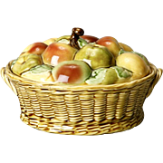 Vintage French Sarreguemines Majolica Lidded Fruit Basket Tureen