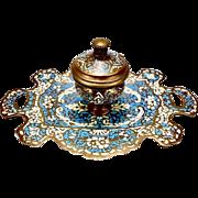 Antique French Blue & White Enameled Bronze Gilt Cloisonné Inkwell