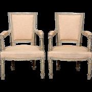 Pair c.1900 Louis XVI Style Armchairs