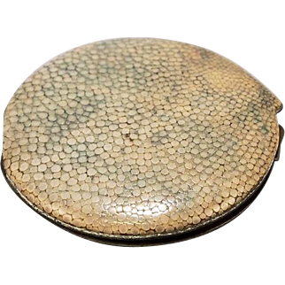 Art Deco Shagreen Circular Compact with Mirror