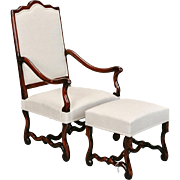 1920s French Louis XIV Style Os De Mouton Arm Chair & Matching Footstool