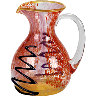 1980's Signed Mario Badioli Color Burst Murano Glass Serving Pitcher