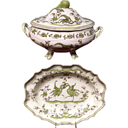 Vintage French Faience Moustiers Soup Tureen and Under Platter by Ribet & Bonnassies - Martres Tolosane