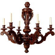 Belgian Six-Light Baroque Style Carved Oak Chandelier