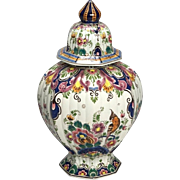 Vintage Dutch Delft Hand-Painted Polychrome Floral Porcelain Lidded Vase
