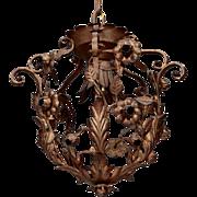 Vintage Brass Single Light Tole Hanging Light Fixture