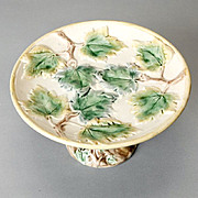 Vintage Ivy Design Hand-Painted Majolica Compote Cake Stand Tazza