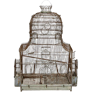 19th Century English Frilly Wire Bird Cage
