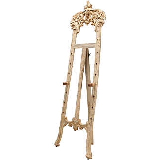 Bleached Black Forrest Carved Tall Easel Floor Stand
