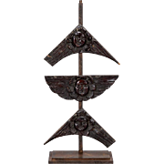 19th Century Carved Wood Angel Faces on Iron Stand