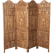19th Century Anglo Indian Elaborately Carved Four Panel Screen