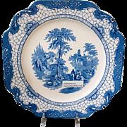 "Set of 5 Adams England Blue White Landscape Transferware 8-3/4"" Square Luncheon Plates"