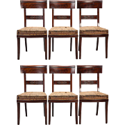 Early 19th Century French Newly Upholstered First Empire Dining Chairs - Set of 6