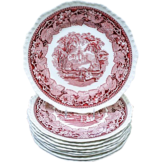 "Set of 6 Mason's Vista Pink Red Transferware 10"" Dinner Plate - Patent Ironstone China"