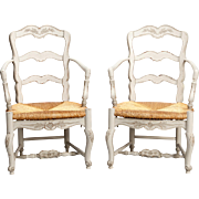 Pair French Carved and Painted Armchairs with Woven Rush Seats