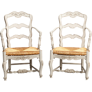Pair Carved and Painted French Armchairs with Woven Rush Seats