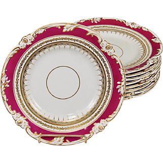 "Set of 9 English Coalport Porcelain Hand Painted 9"" Dinner Plates"