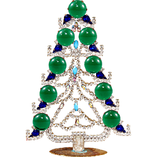 Czech Rhinestone Jeweled Table Top Stand Up Christmas Tree