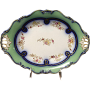 19th Century English Coalport Porcelain Hand Painted Floral Oval Compote Pearlware Serving Dish Decorative Platter