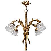 French Gilded Bronze Four Light Chandelier, c.1900