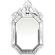 Vintage Eight-Sided Italian Venetian Mirror with Crest