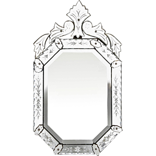Early 20th C. Eight-Sided Italian Venetian Mirror with Crest