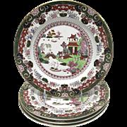 "19th Century Ashworth Ironstone Masons Pekin Japan B6107 9.75"" Plates - Set of 4"