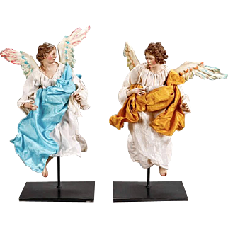 Pair of Italian Neapolitan Creche Angels On Stands