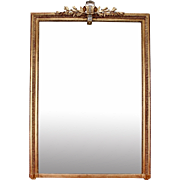 Large Gilt Wood Louis Philippe Mirror With Silver Leaf Gilt Crown