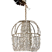French Beaded Bronze Basket Frame Light Fixture Chandelier